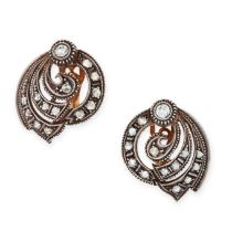 A PAIR OF DIAMOND STUD EARRINGS in circular scrolling design set with round and rose cut diamonds,