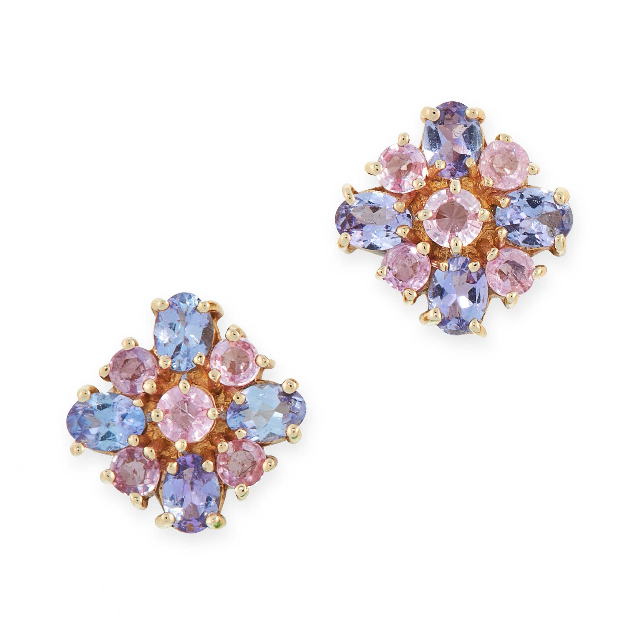 A PAIR OF GEMSET STUD EARRINGS in 14ct yellow gold, set with round cut pink gemstones in cross