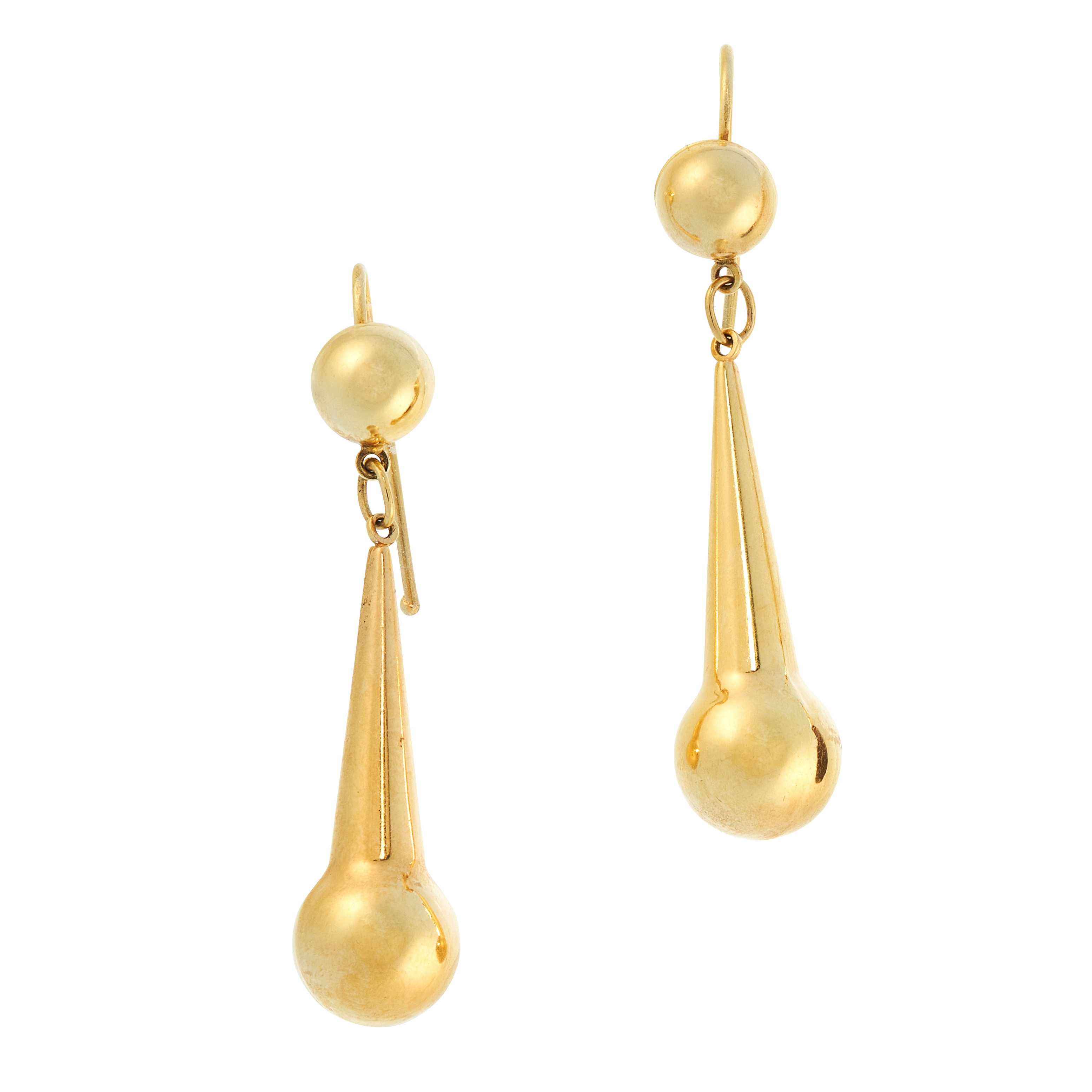 A PAIR OF ANTIQUE DROP EARRINGS, 19TH CENTURY in yellow gold, the articulated bodies formed of