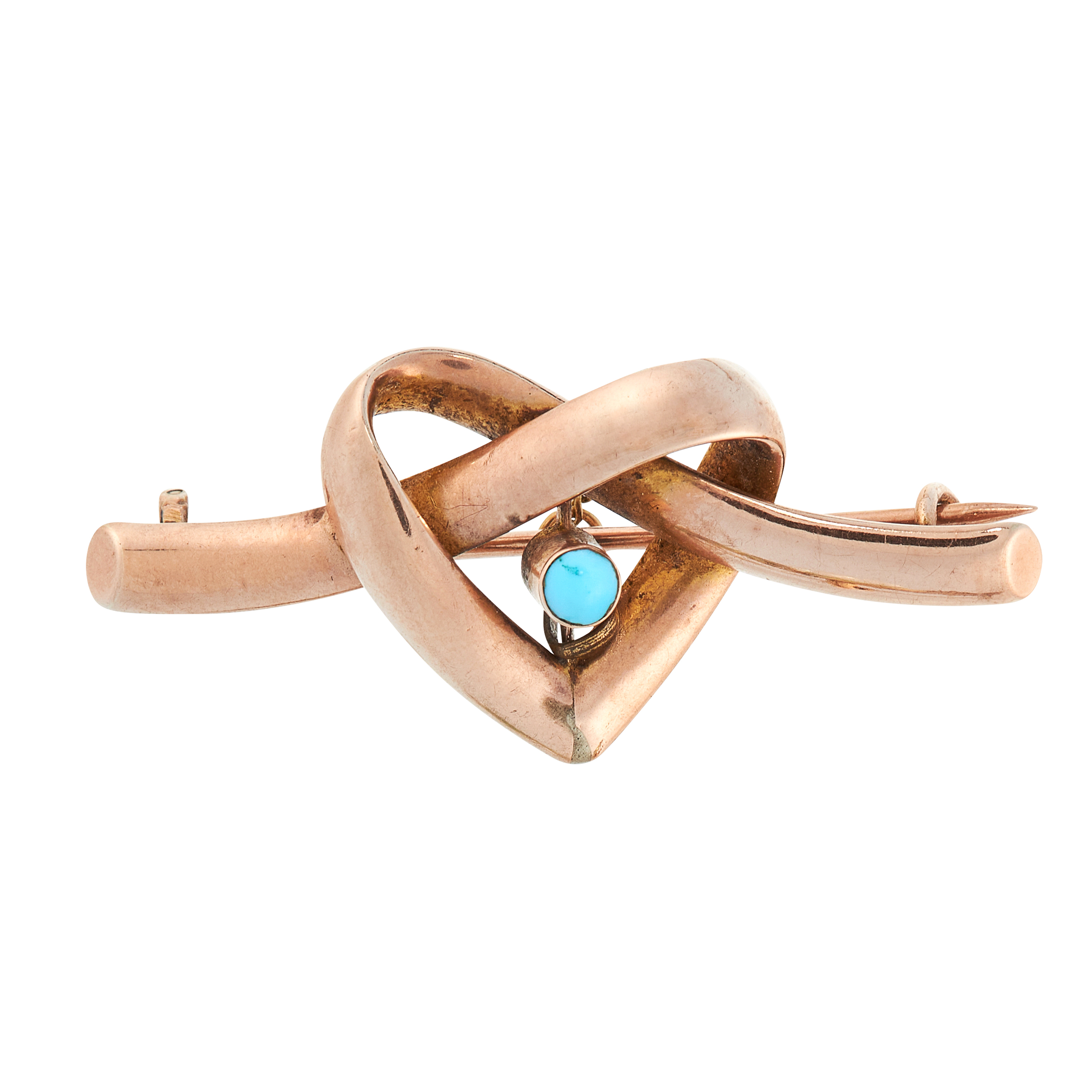 AN ANTIQUE VICTORIAN TURQUOISE HEART BROOCH in 9ct yellow gold, comprising of a cabochon turquoise