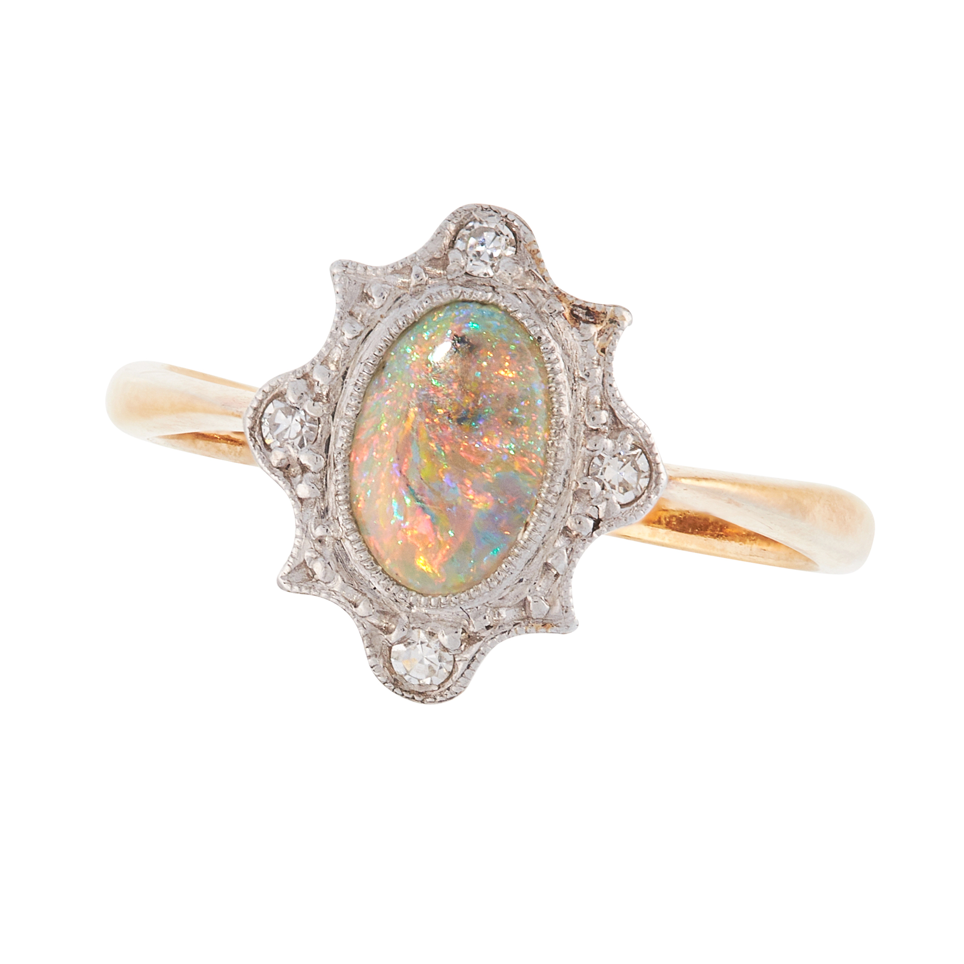 AN OPAL AND DIAMOND DRESS RING, CIRCA 1940 in 18ct yellow gold and platinum, set with an oval