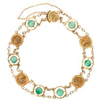 A CHINESE JADEITE JADE BRACELET, EARLY 20TH CENTURY in 14ct yellow gold, set with six round