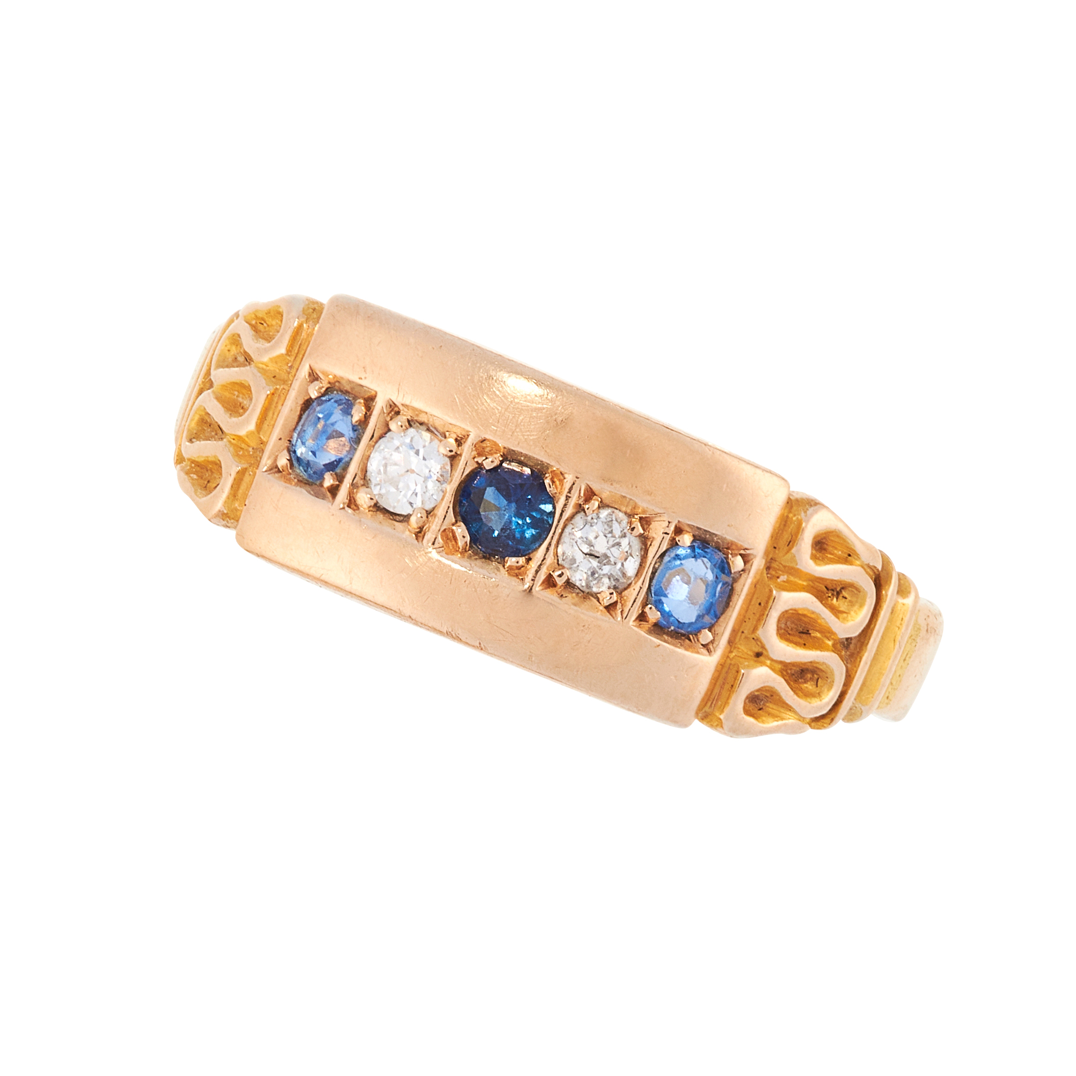 AN ANTIQUE VICTORIAN SAPPHIRE AND DIAMOND RING in 15ct yellow gold, the panel face is set with