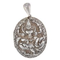 AN ANTIQUE ANGLO-INDIAN MOURNING LOCKET PENDANT, MADRAS INDIA CIRCA 1910 in silver, Raj period, of