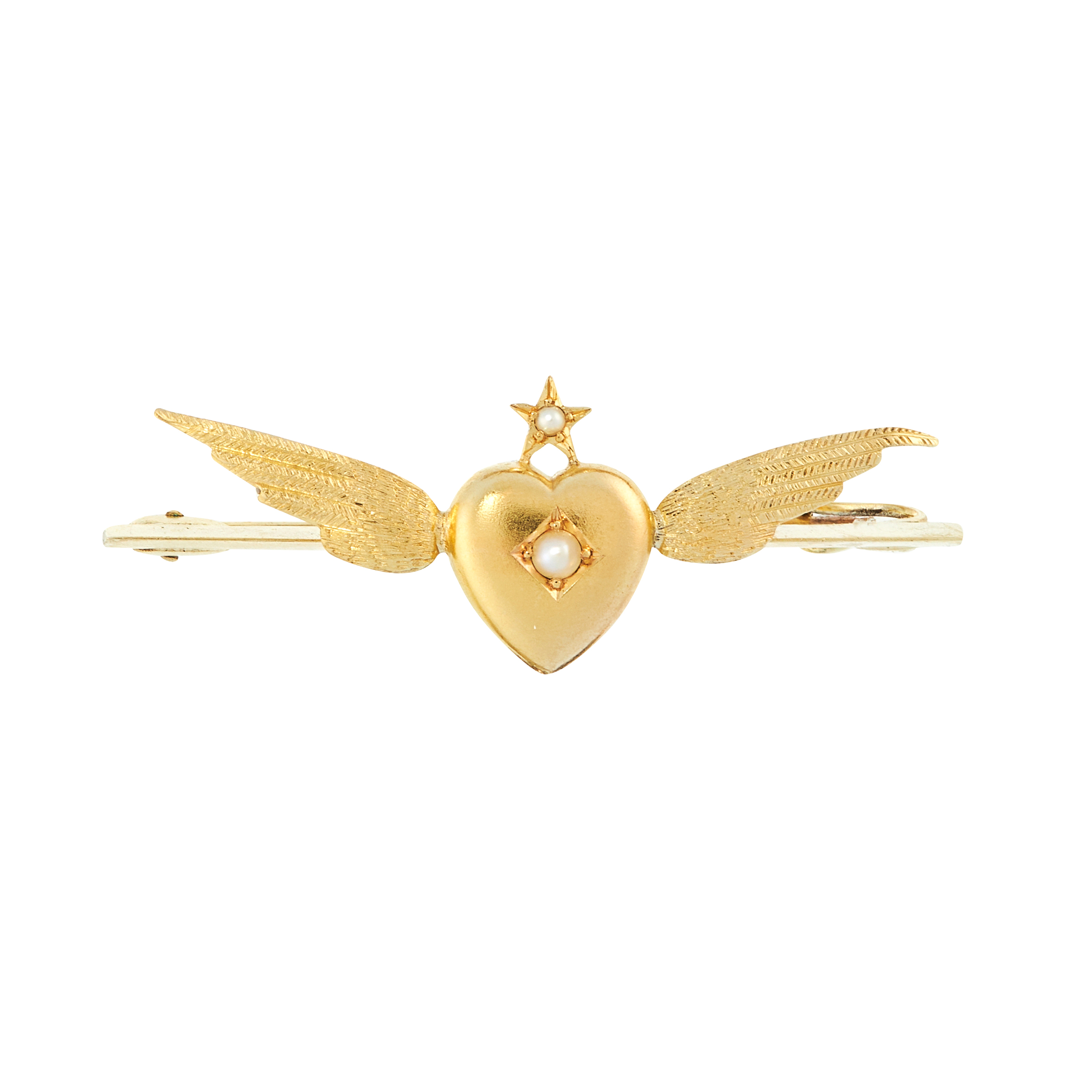 AN ANTIQUE PEARL BROOCH, CIRCA 1900 in 15ct yellow gold, designed as a heart surmounted by a star,