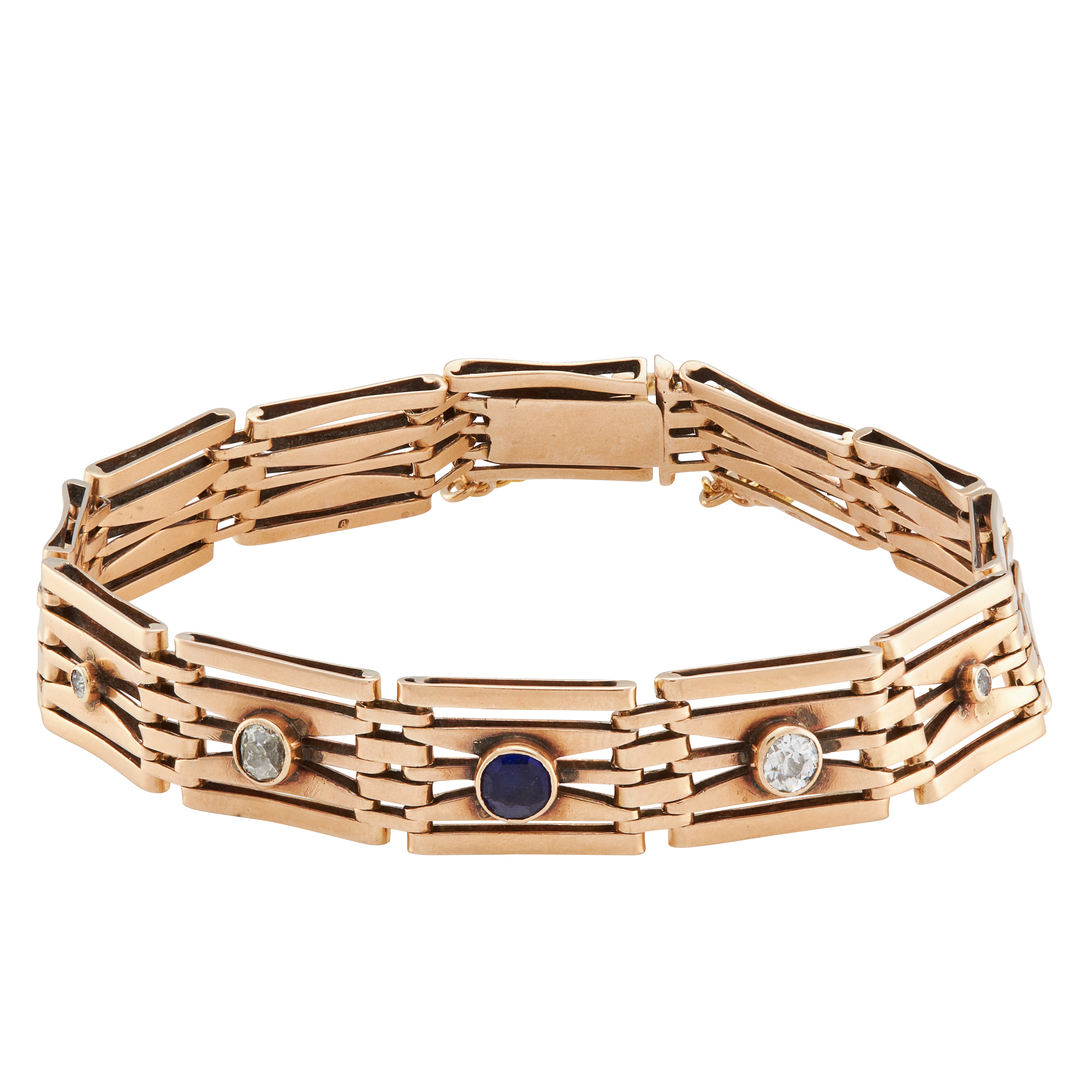 AN ANTIQUE SAPPHIRE AND DIAMOND BRACELET in 15ct yellow gold, of gate link design, set with a - Image 2 of 2