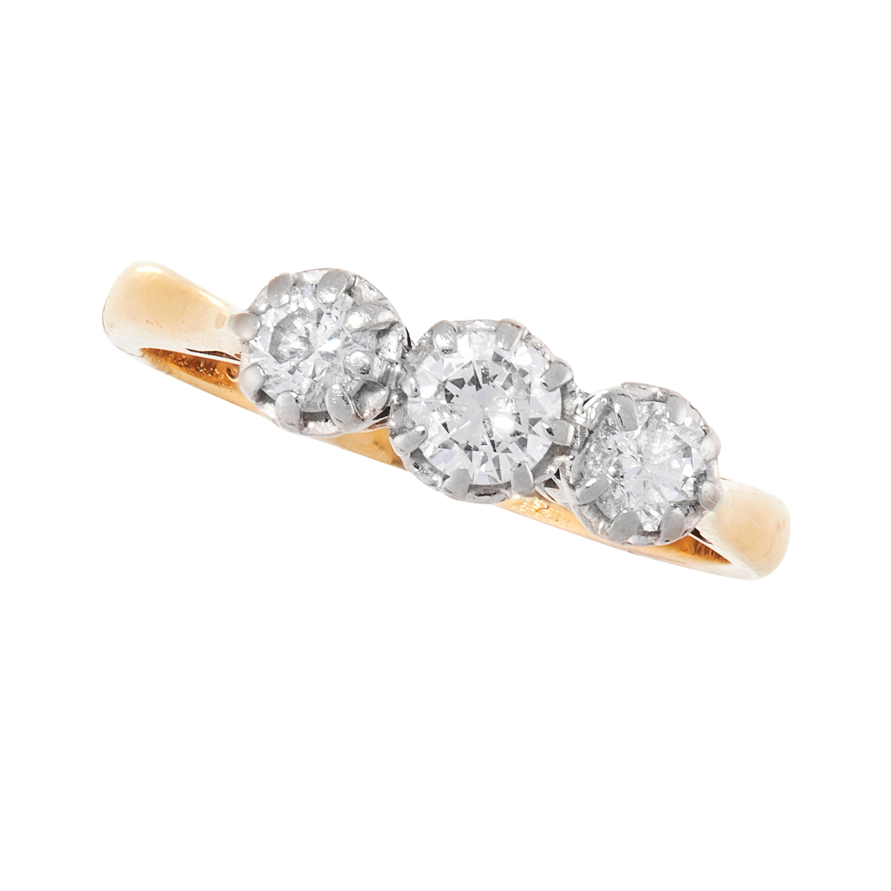 A DIAMOND TRILOGY DRESS RING, CIRCA 1940 in 18ct yellow gold and platinum, set with a trio of