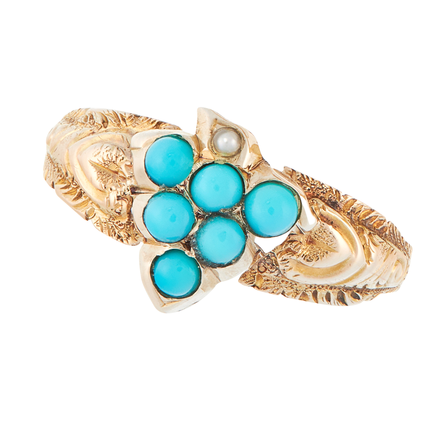 AN ANTIQUE TURQUOISE AND PEARL DRESS RING, 19TH CENTURY in high carat yellow gold, designed as a