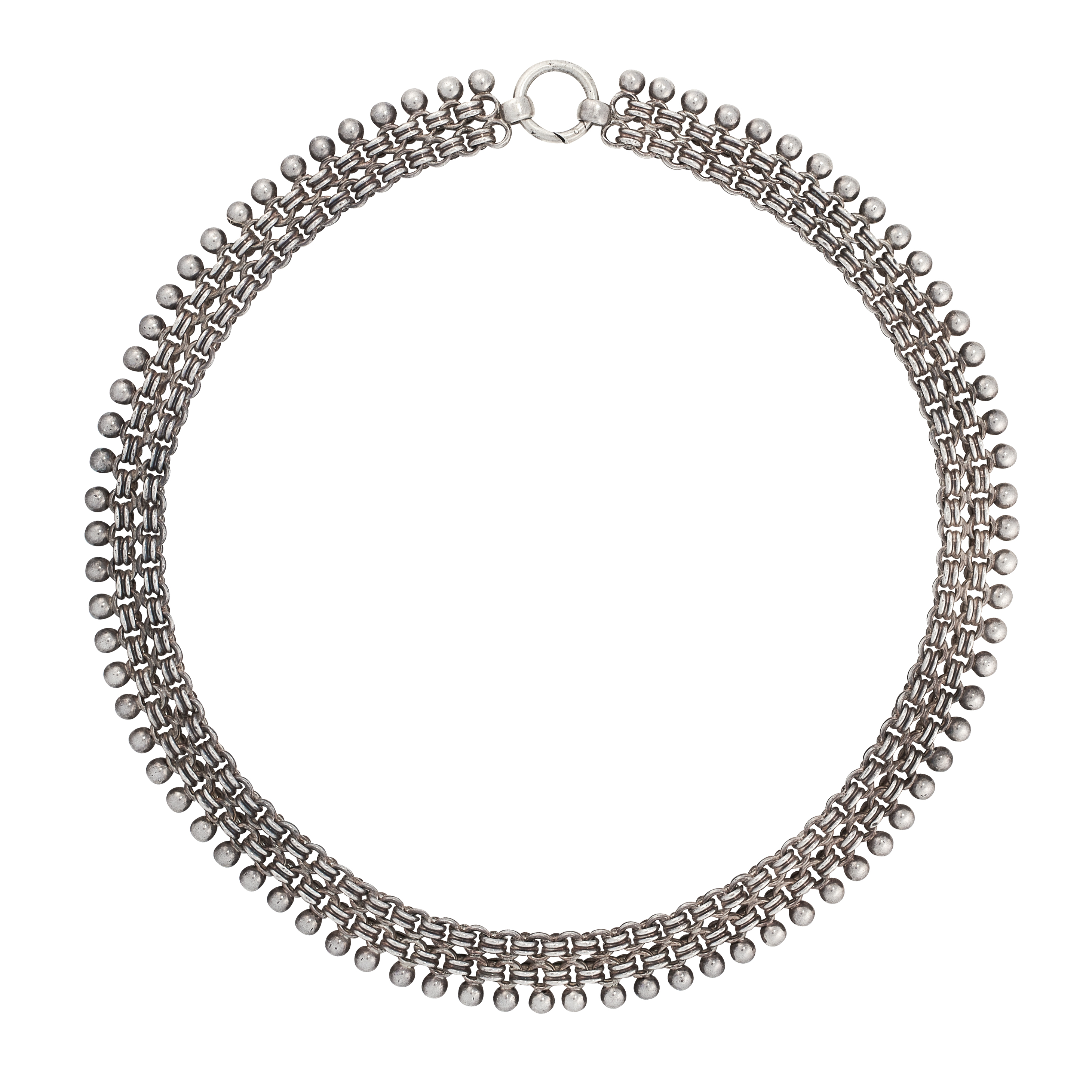 AN ANTIQUE SILVER COLLAR NECKLACE in fancy link mesh design, each set with a silver ball,