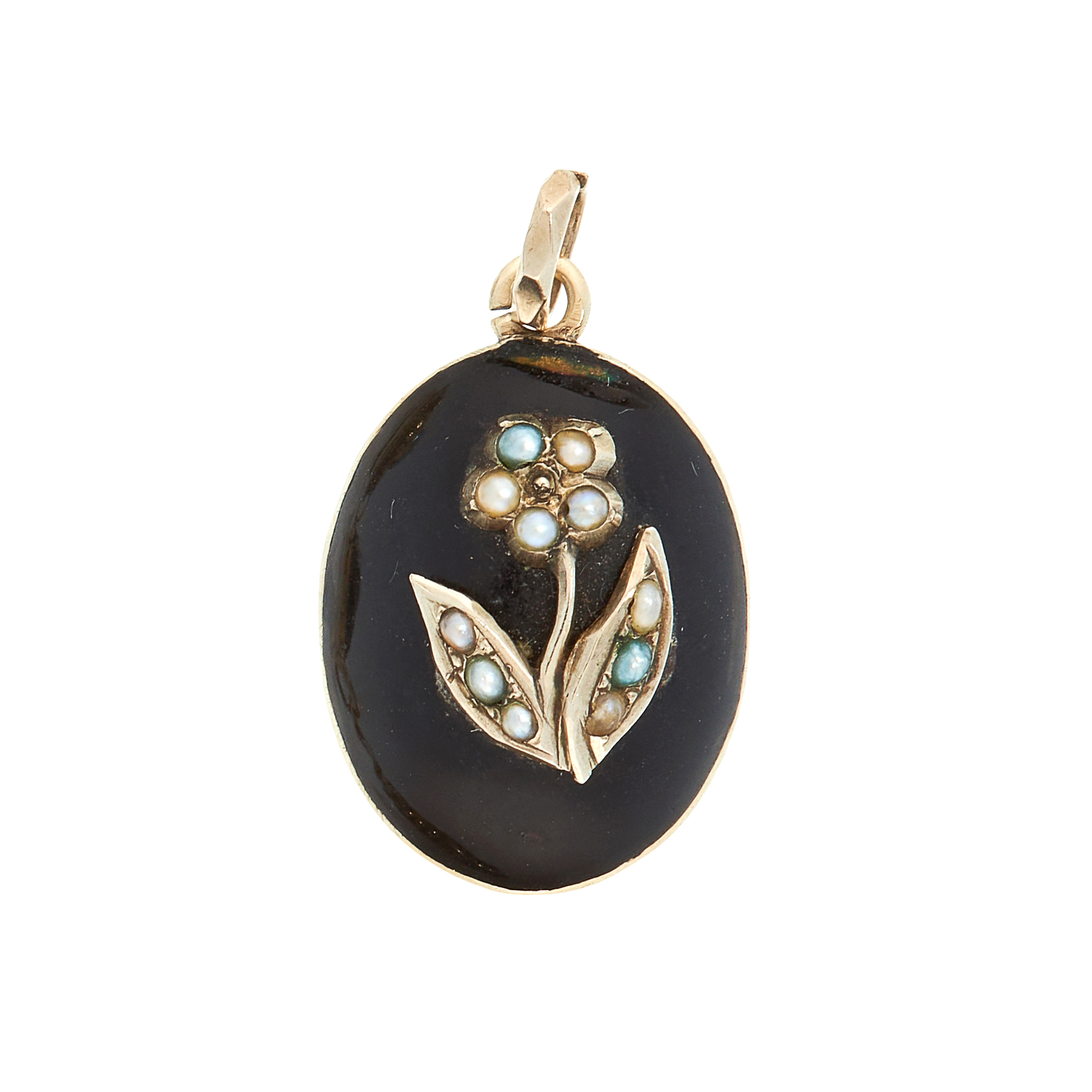 A PEARL AND ENAMEL MOURNING LOCKET PENDANT, 19TH CENTURY the oval body with an applied forget-me-not
