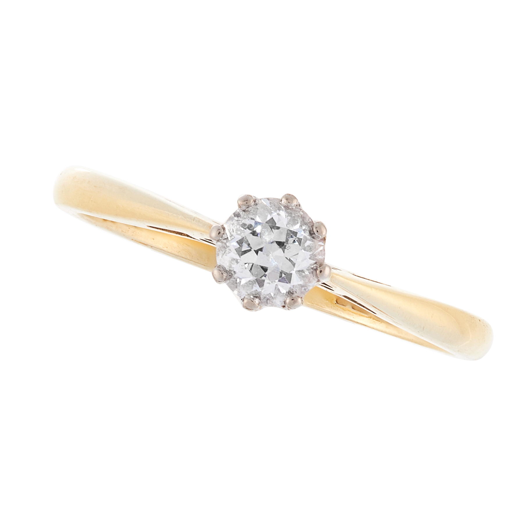 A SOLITAIRE DIAMOND DRESS RING in 18ct yellow gold, set with a round cut diamond of 0.38 carats