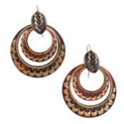 A PAIR OF ANTIQUE PIQUE TORTOISESHELL EARRINGS in round design, set with two articulated hoops,