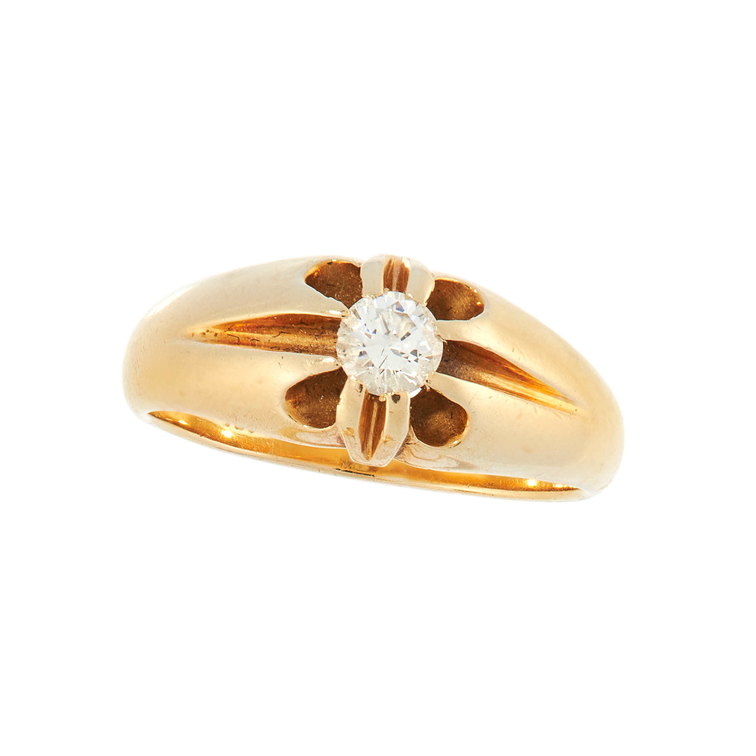 A SOLITAIRE DIAMOND DRESS RING in 18ct yellow gold, the tapering band set with a round cut diamond