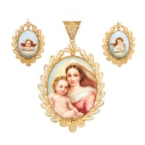 AN ANTIQUE MOTHER AND CHILD EARRINGS AND PENDANT SUITE in oval design, the earrings are set with