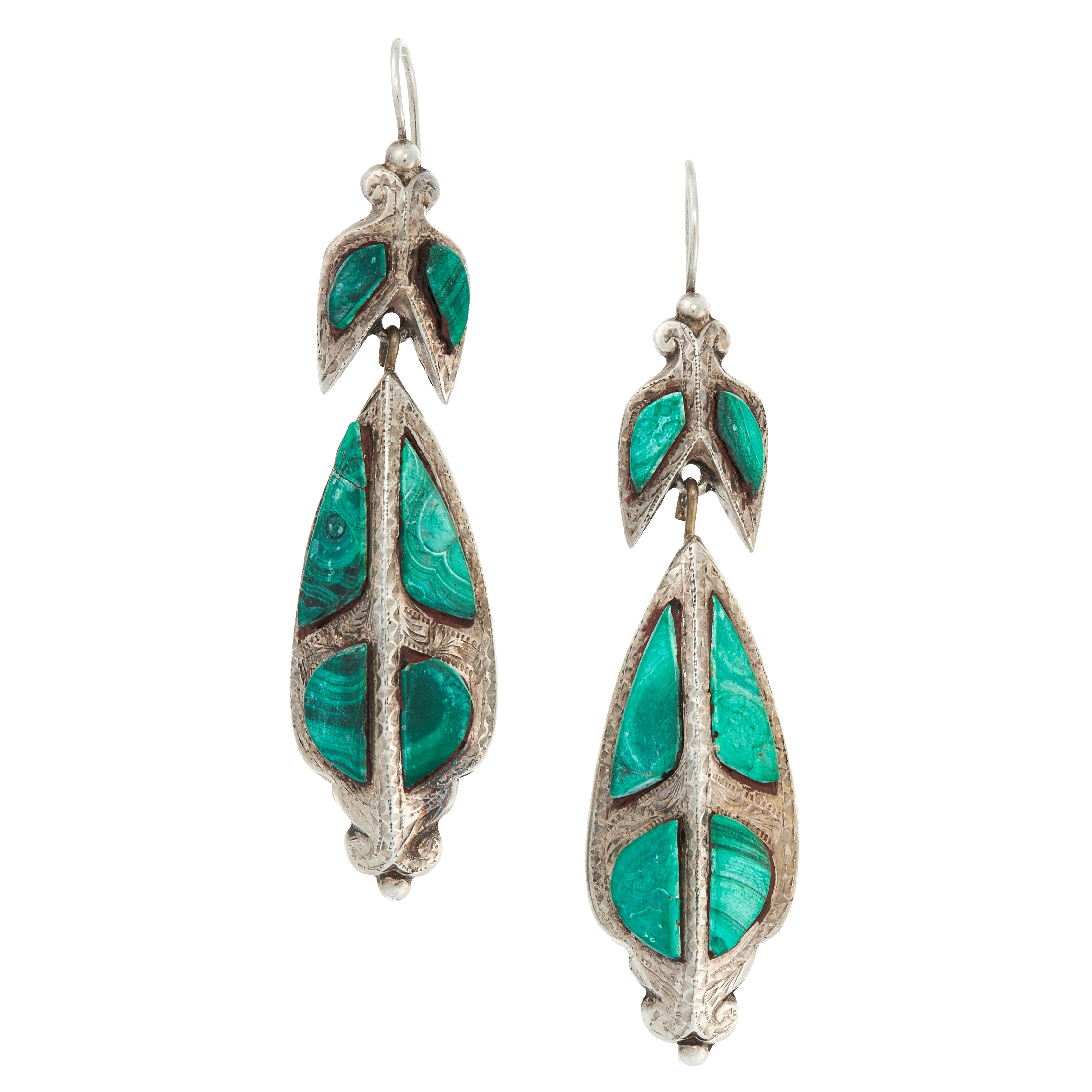 A PAIR OF ANTIQUE SCOTTISH MALACHITE DROP EARRINGS in sterling silver, the articulated bodies formed