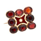 AN ANTIQUE ENAMEL, GARNET AND PEARL BROOCH in yellow gold, in rectangular design, set with a central