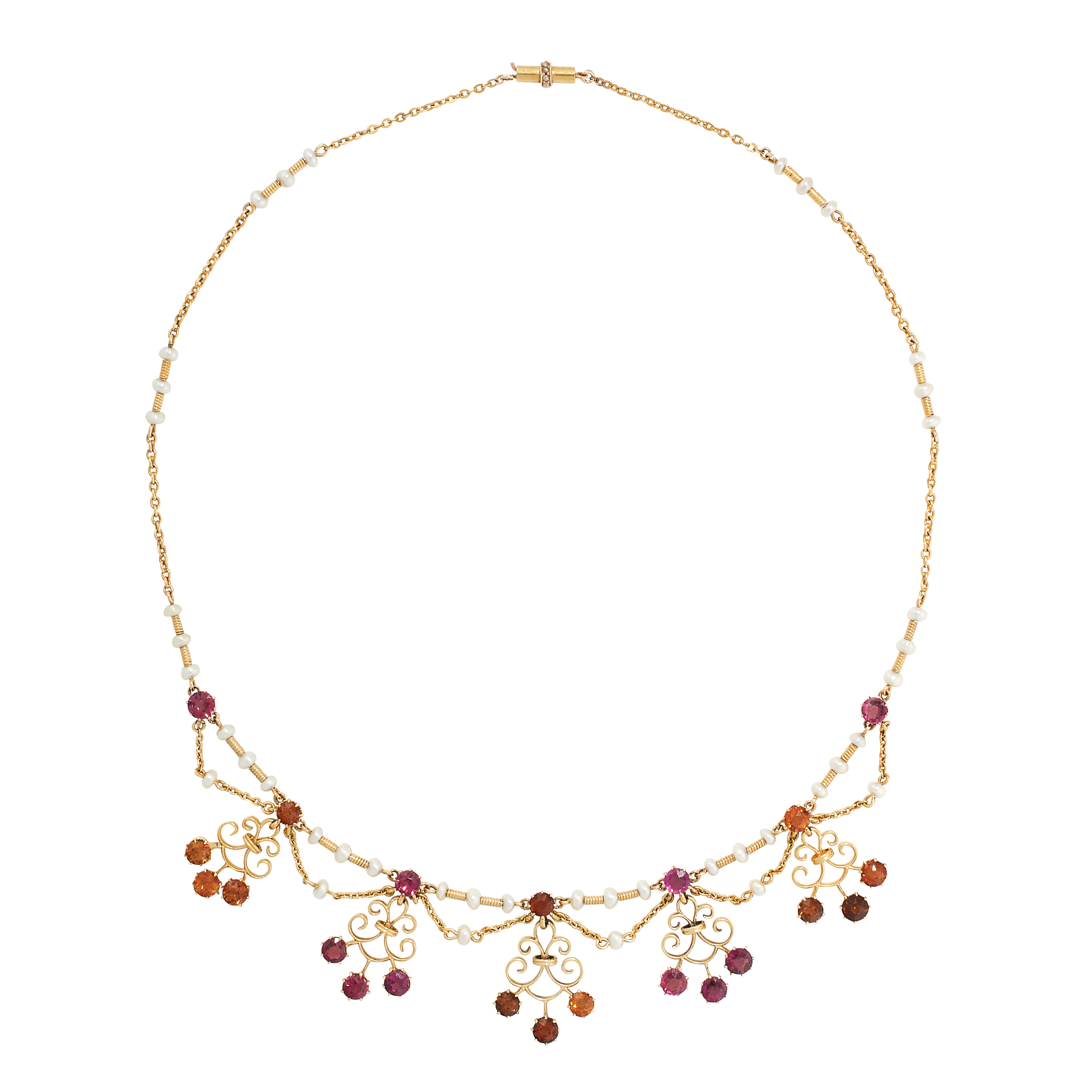 AN ANTIQUE SCOTTISH NATURAL PEARL, CITRINE AND GARNET NECKLACE in yellow gold, the chain