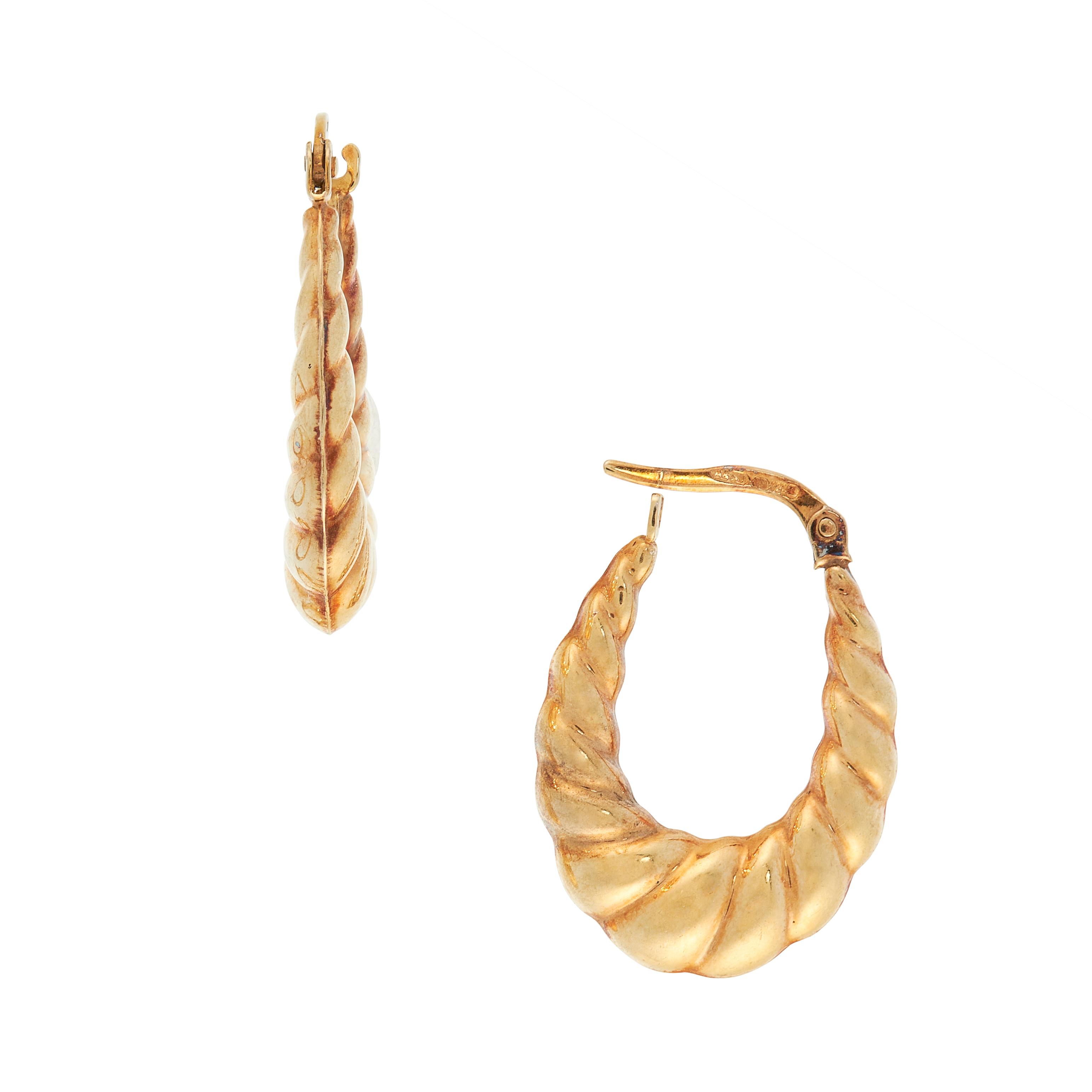 A PAIR OF VINTAGE HOOP EARRINGS in 9ct yellow gold, each designed as an elongated hoop of twisted