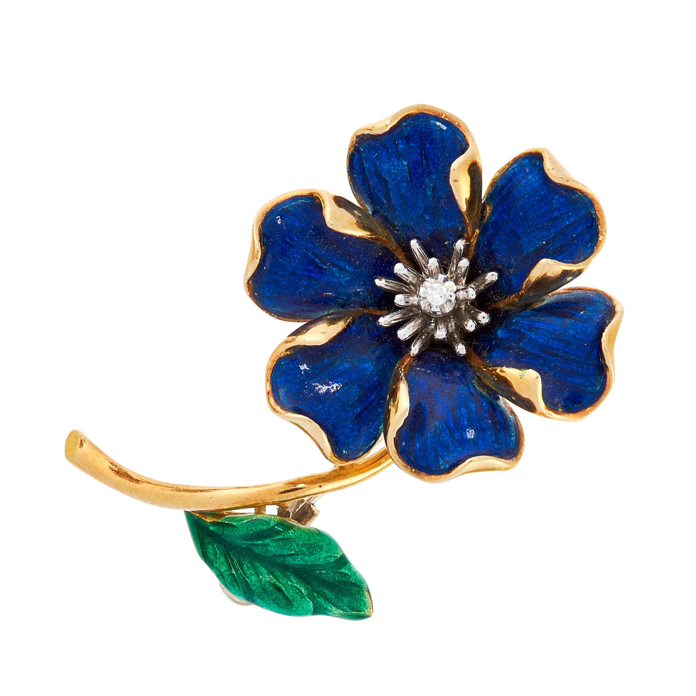 A VINTAGE ENAMEL AND DIAMOND FLOWER BROOCH in 18ct yellow gold, designed as a flower, set with a