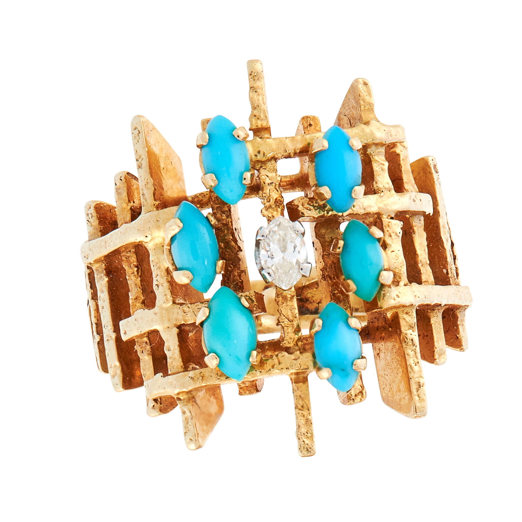 A VINTAGE TURQUOISE AND DIAMOND DRESS RING, CIRCA 1970 in 18ct yellow gold and platinum, in the