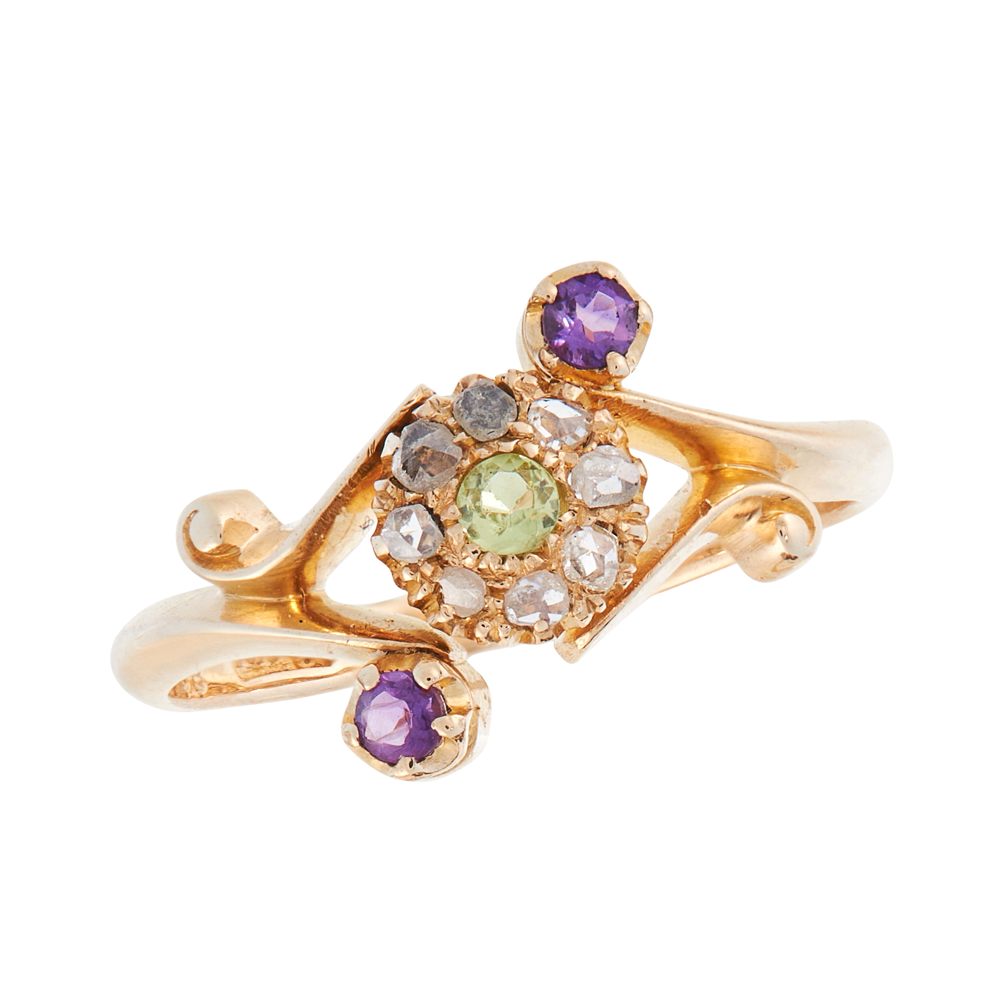 AN ANTIQUE PERIDOT, AMETHYST AND DIAMOND SUFFRAGETTE DRESS RING, 1912 in 18ct yellow gold, of