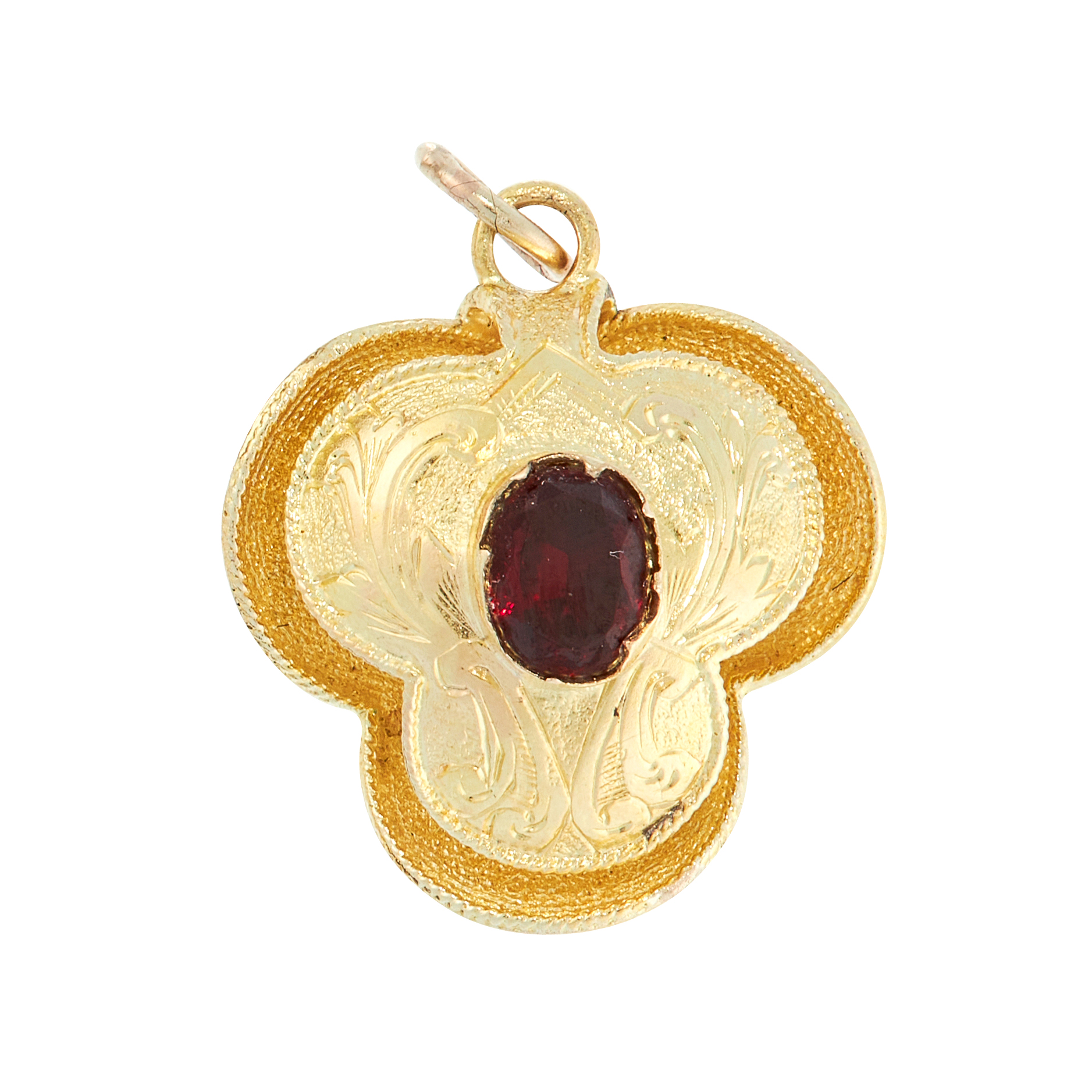 AN ANTIQUE GARNET MOURNING LOCKET PENDANT / CHARM, 19TH CENTURY in high carat yellow gold,