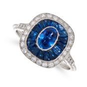 A SAPPHIRE AND DIAMOND TARGET RING, IN ART DECO DESIGN set with an oval cut sapphire in a concentric