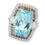 AN AQUAMARINE AND DIAMOND DRESS RING in 18ct white gold, set with a scissor cut aquamarine of 10.