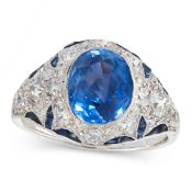 A CEYLON NO HEAT SAPPHIRE AND DIAMOND DRESS RING set with a cushion cut blue sapphire of 3.49