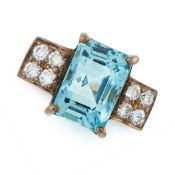 AN AQUAMARINE AND DIAMOND RING set with an emerald cut aquamarine of 4.43 carats between two squares