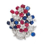A VINTAGE SAPPHIRE, RUBY AND DIAMOND GIARDINETTO BROOCH, CIRCA 1950 designed as a basket of flowers,