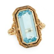 A VINTAGE AQUAMARINE DRESS RING, CIRCA 1940 in 14ct yellow gold, set with an emerald cut