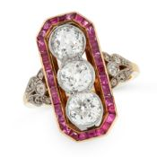 AN ART DECO DIAMOND AND RUBY DRESS RING in 18ct yellow gold, set with a trio of old cut diamonds