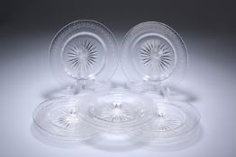 A SET OF EIGHT EDWARDIAN CUT AND ETCHED GLASS PLATES