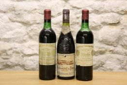 3 BOTTLES MIXED LOT OF FINE RARE, MATURE CLARET AND CHATEAUNEUF DU PAPE INCLUDING CHATEAU CHEVAL BL