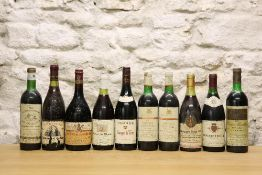 10 BOTTLES MIXED LOT RED DRINKING WINE INCLUDING CHATEAUNEUF DU PAPE AND CLARET