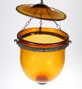 A VICTORIAN AMBER GLASS HANGING LIGHT DOME WITH ORIGINAL GLASS TOP