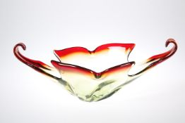 A LARGE MID CENTURY ART GLASS BOWL. 46.5cm wide