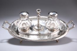 A VICTORIAN SILVER INKSTAND WITH TAPERSTICK