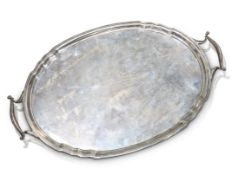 A LARGE GEORGE V SILVER TRAY