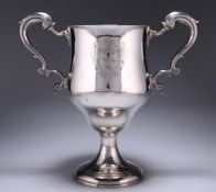 A LARGE GEORGE III IRISH SILVER TWO-HANDLED CUP