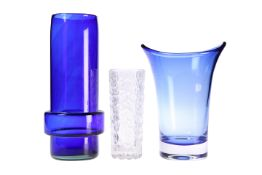 THREE PIECES OF ART GLASS, including a Whitefriars blue vase