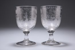 A PAIR OF 19TH CENTURY MARRIAGE GLASSES