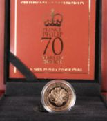 "A GOLD ONE POUND PROOF COIN, ""PRINCE PHILIP 70 YEARS OF SERVICE"", boxed with certificate numbered"