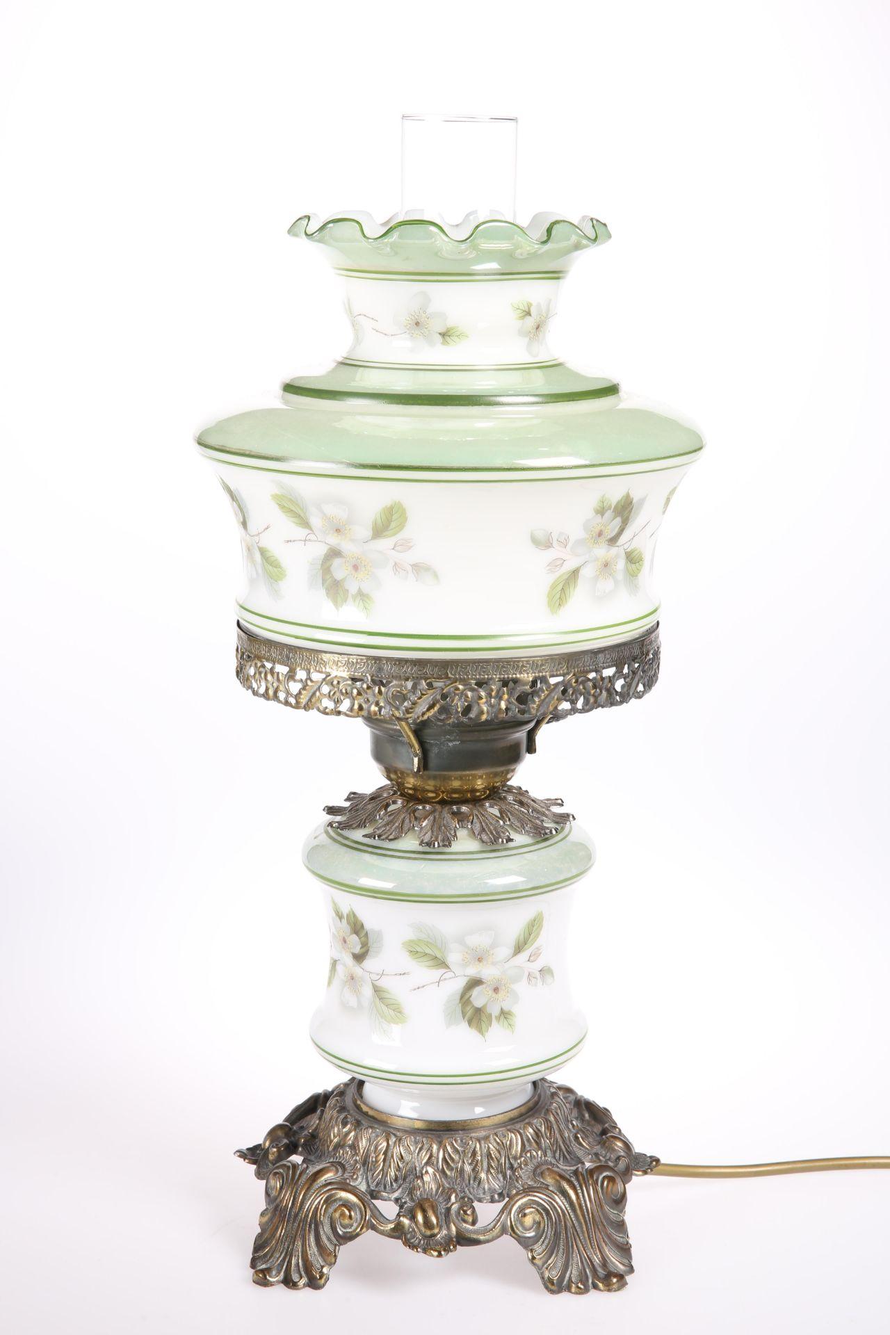 A QUOIZEL ABIGAIL ADAMS BRASS-MOUNTED GLASS HURRICANE LAMP. 49cm