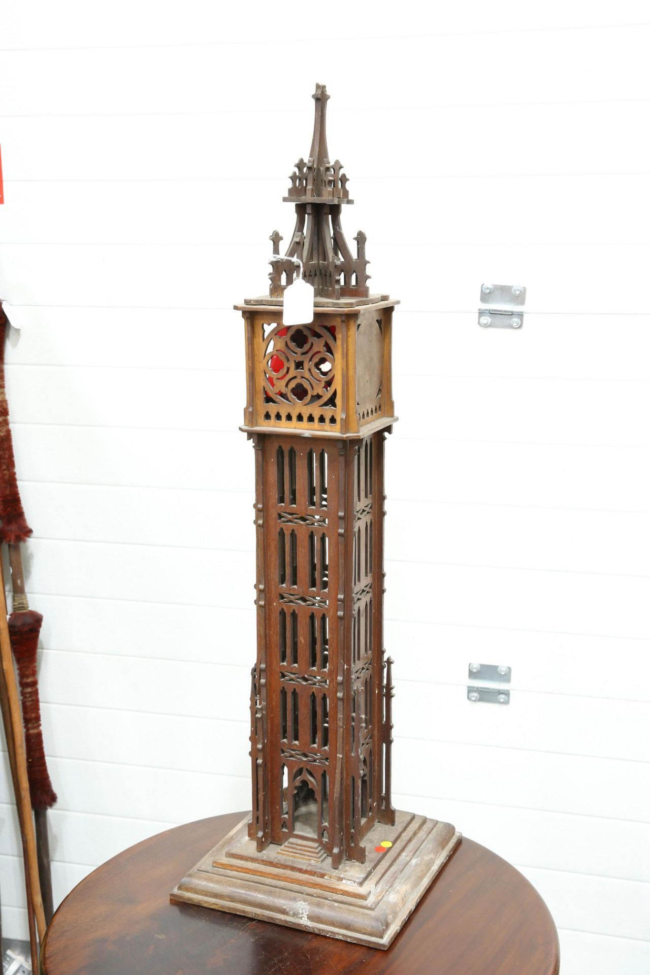 A 19TH CENTURY FRETWORK COLUMNAR 'GOTHIC' LANTERN, of architectural form. 88cm high - Bild 4 aus 4