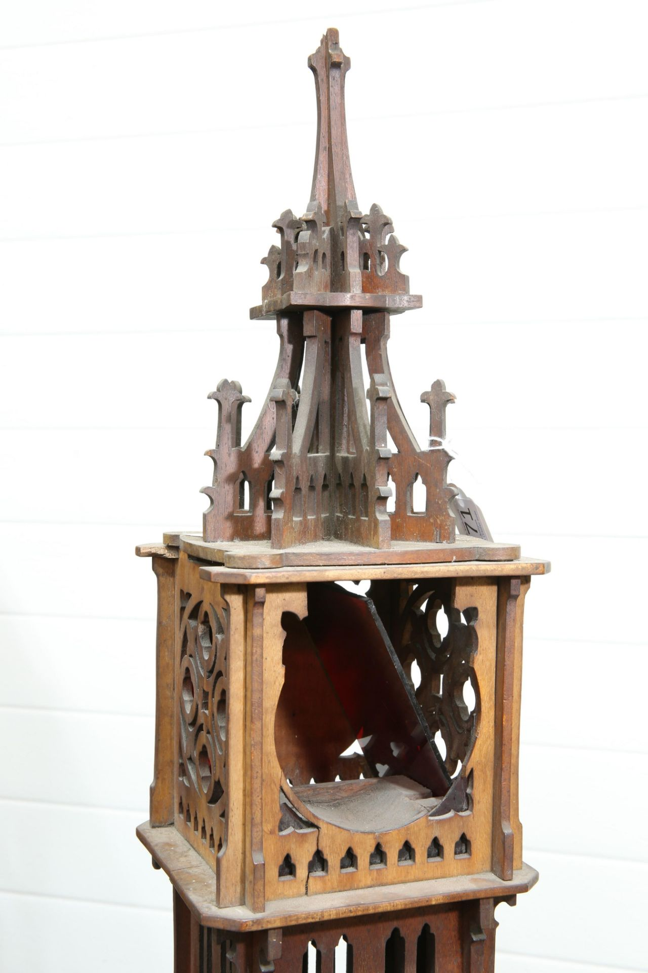 A 19TH CENTURY FRETWORK COLUMNAR 'GOTHIC' LANTERN, of architectural form. 88cm high - Bild 3 aus 4