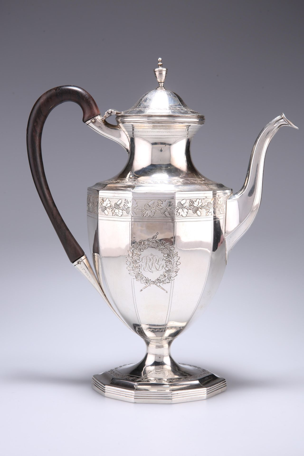 A GEORGE III SILVER COFFEE POT, by Robert Hennell I & David Hennell II, London 1796, panelled form