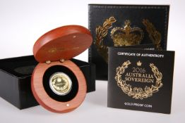 A 2016 AUSTRALIA GOLD PROOF SOVEREIGN, Perth Mint, no. 0360, in wooden presentation case with