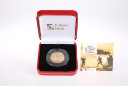 A POBJOY 22 CARAT GOLD D-DAY 75TH ANNIVERSARY FIFTY PENCE PIEDFORT PROOF COIN,in plastic capsule,
